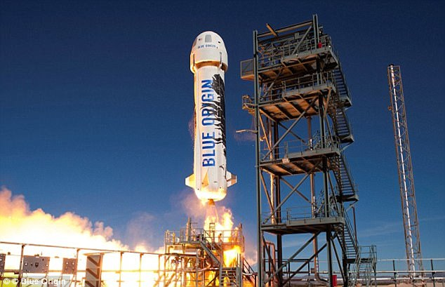 Blue Origin is currently developing a BE-4 engine for its New Glenn rockets (pictured) that the firm plans to test in just three years. Jeff Bezos said: